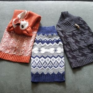 3 size small new dog sweaters